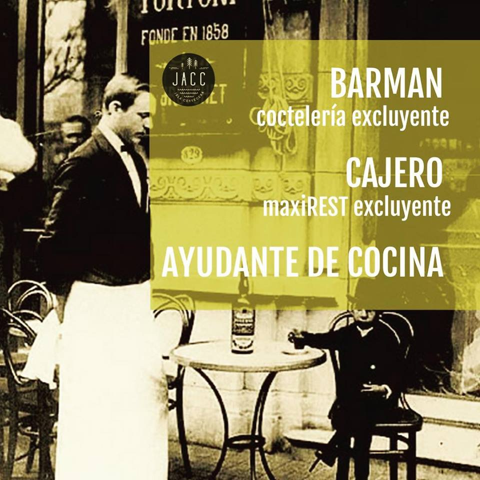 BUSCAN!! #BARMAN #CAJERO #AYUDANTE